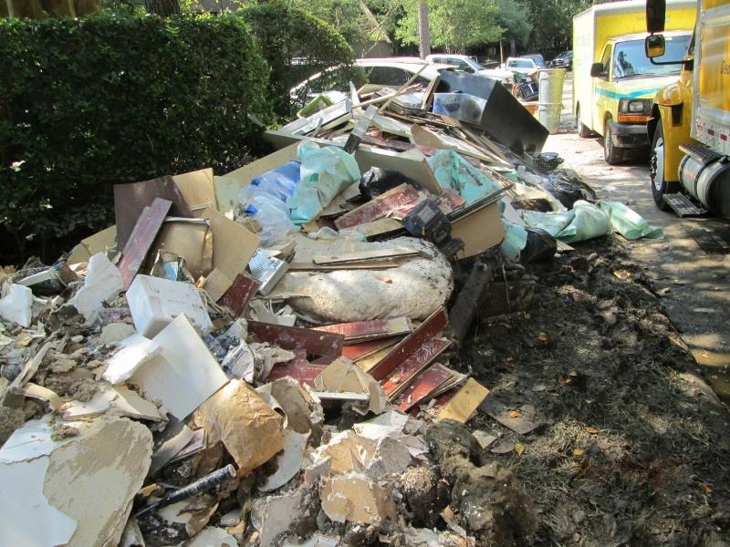 Debris and trucks on the street